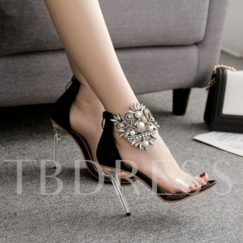 Open Toe Zipper Stiletto Heel Heel Covering Pumps Sandals