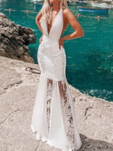 Lace See-Through Floral Floor-Length V-Neck Halter Women's Dress