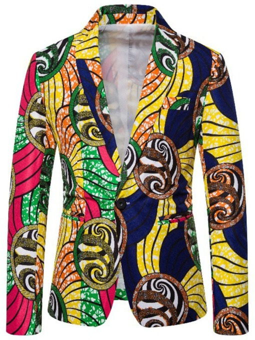 Color Block Casual Slim Print Polyester Men's leisure Suit