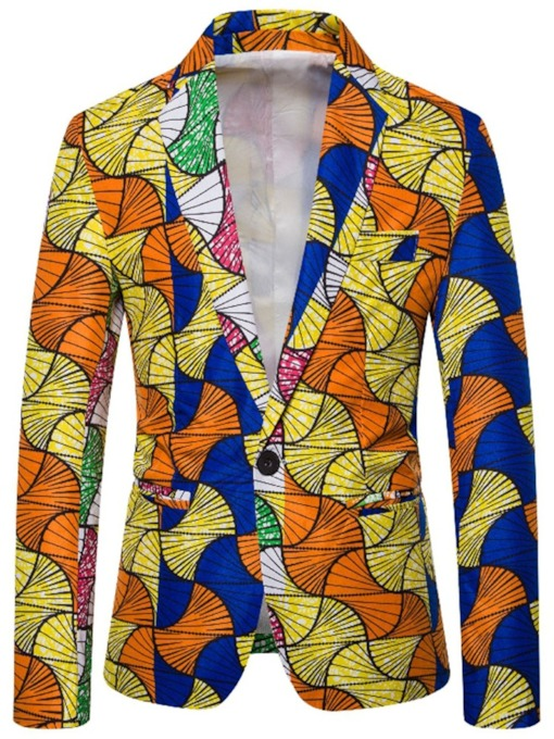 Slim Casual Print Color Block Men's leisure Suit