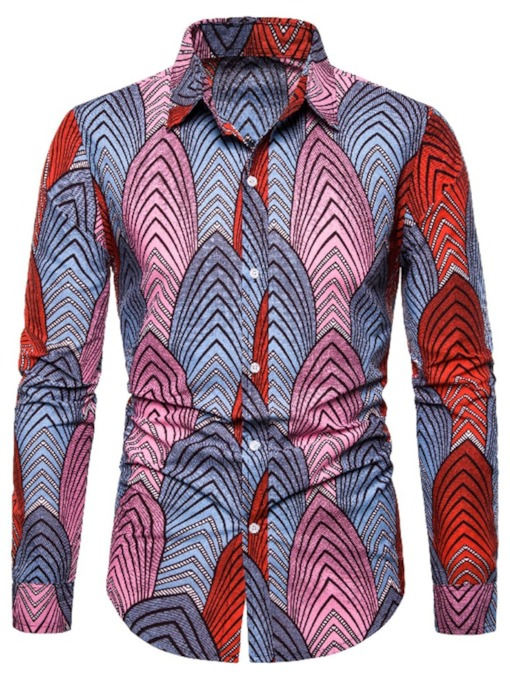 Color Block Print Casual Lapel Men's Shirt