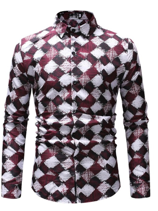 Plaid Casual Print Lapel Single-Breasted Men's Shirt