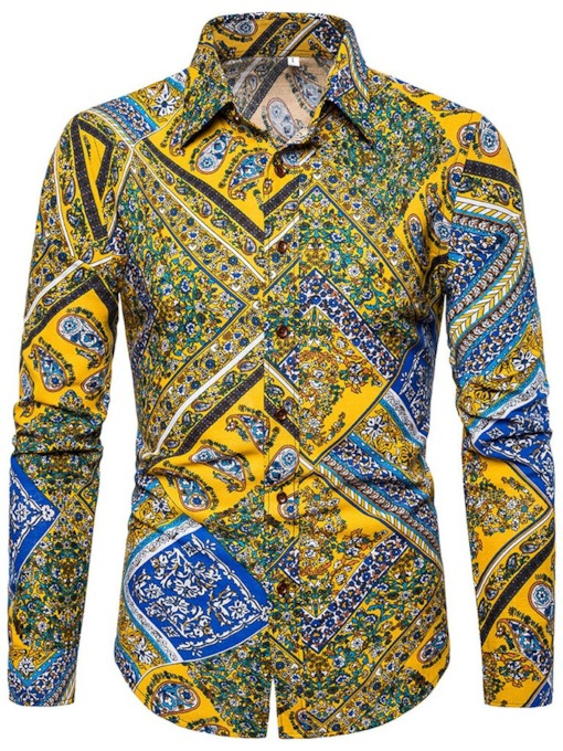 Linen Multi-ethnic Long Sleeve Casual Lapel Print Floral Slim Men's Shirt
