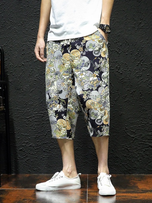 Floral Thin Print Casual Men's Casual Pants