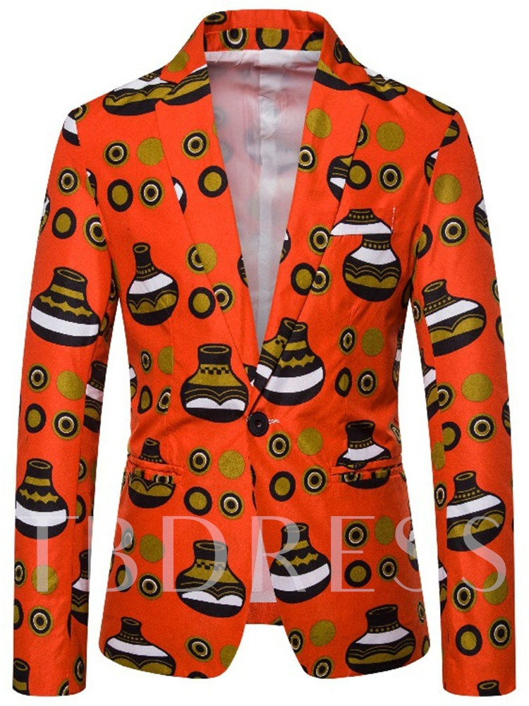 Notched Lapel One Button Slim Print Men's leisure Suit