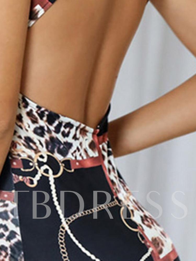 Leopard Prints Knee-Length Backless Stand Collar Party/Cocktail Women's Dress