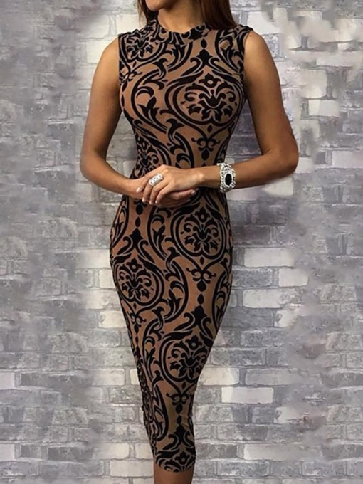 Sleeveless Print Stand Collar Mid-Calf Mid Waist Women's Dress
