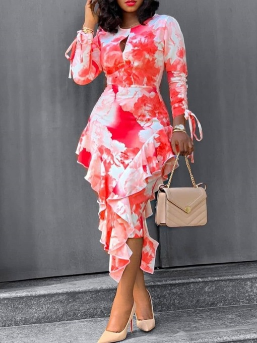 Floral Midi Dress Mid-Calf Falbala Three-Quarter Sleeve Round Neck Pullover Women's Dress