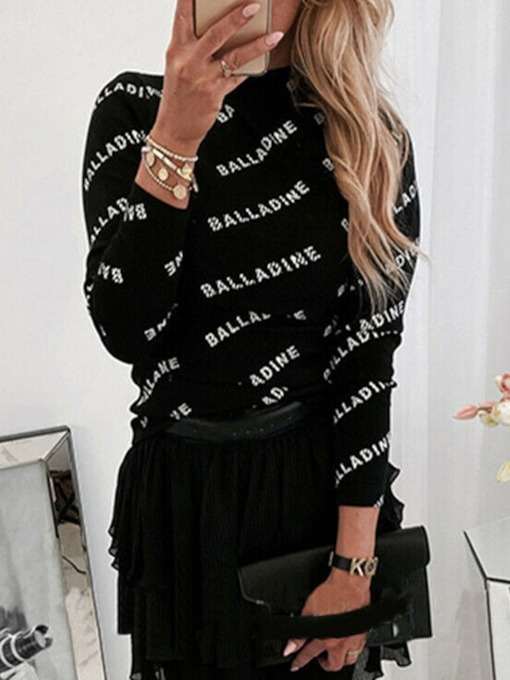 Scoop Round Neck Long Sleeve Letter Prints Casual Women's T-Shirt