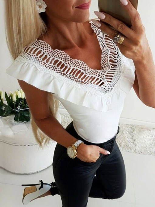 Lace Pacthwork Sexy Slim V-neck Solid Sleeveless Polyester Summer Women's Tank Top