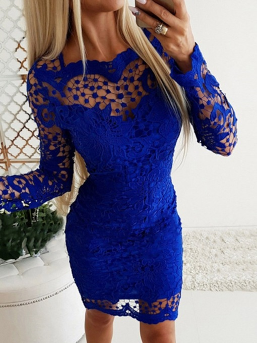Lace Above Knee Long Sleeve Women's Dress