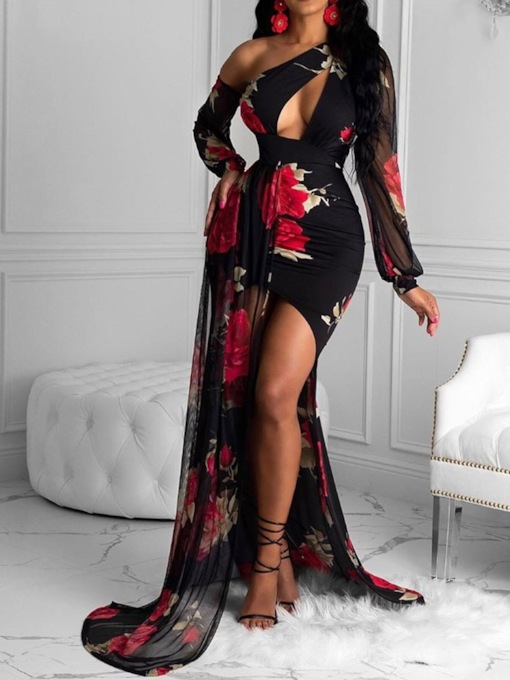 Print Long Sleeve Floor-Length Oblique Collar Asymmetrical Women's Dress