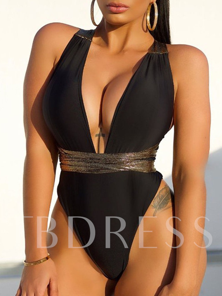 One Piece Sexy Black Women's Swimwear