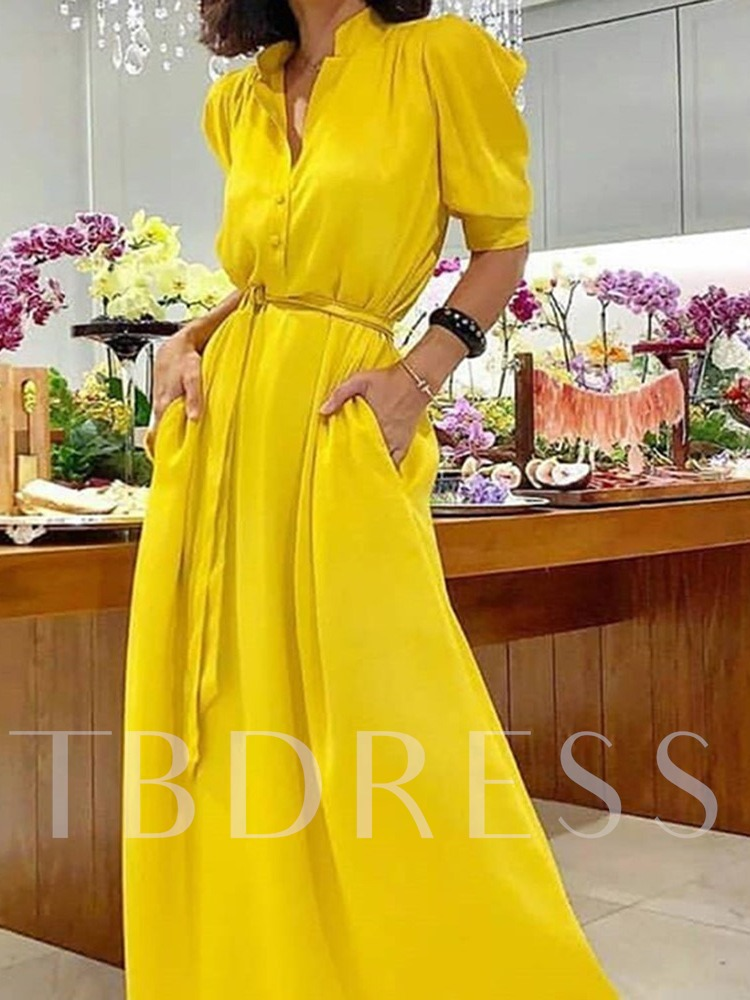 Casual Stand Collar Half Sleeve Floor-Length Plain Women's Dress