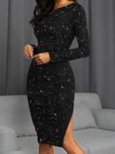 Backless Split Long Sleeve Sequins Round Neck Sexy Women's Dress