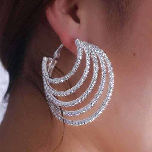 European Diamante Alloy Prom Hoop Earrings