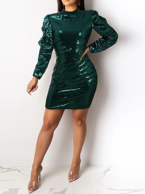Long Sleeve Sequins Above Knee Stand Collar Bodycon Women's Dress