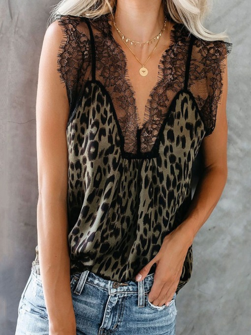 Print Polyester Lace Women's Tank Top