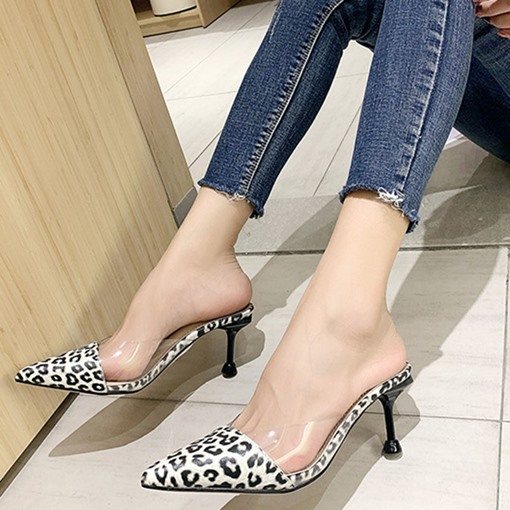 Closed Toe Stiletto Heel Leopard Print Slip-On Casual Slippers