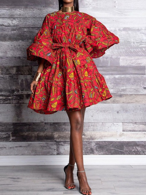 Three-Quarter Sleeve Print Above Knee Round Neck Vintage Women's Dress