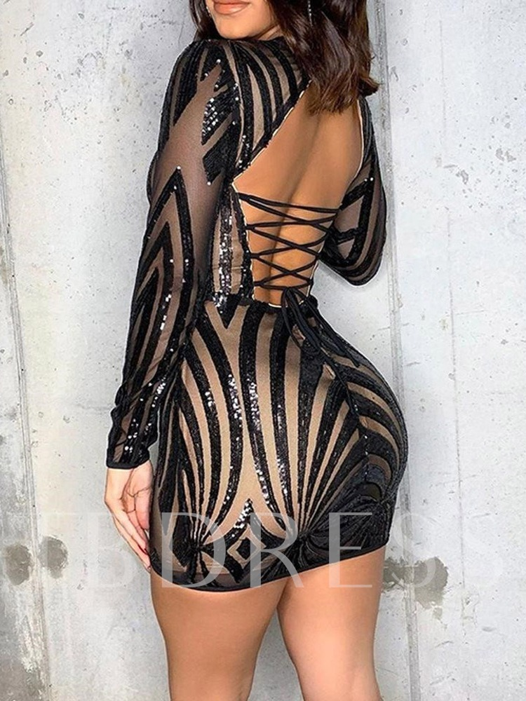 Sexy Above Knee Backless Round Neck Long Sleeve Bodycon Women's Dress