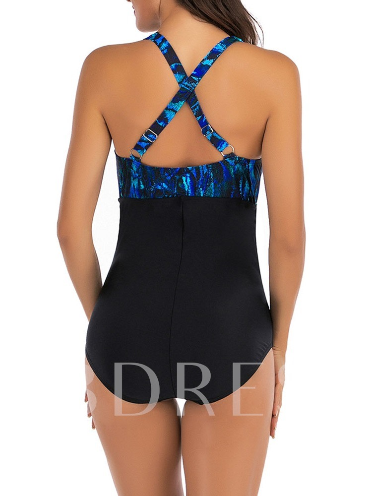 One-Piece Color Block Sexy Floral Swimwear