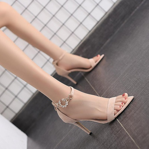 Pointed Toe Zipper Stiletto Heel Heel Covering Suede Sandals