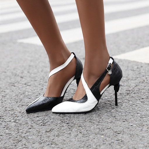 Stiletto Heel Heel Covering Pointed Toe Buckle Patchwork Sandals