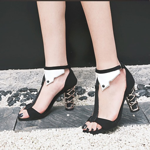 Chunky Heel Open Toe Heel Covering T-Shaped Buckle Patchwork Sandals