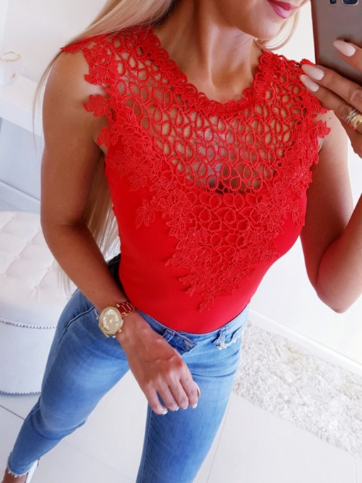 Polyester Plain Western Casual Lace-up Slim Women's Tank Top