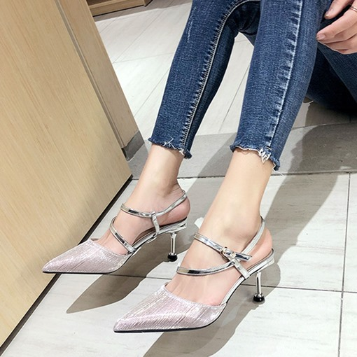 Pointed Toe Stiletto Heel Line-Style Buckle Casual Sandals