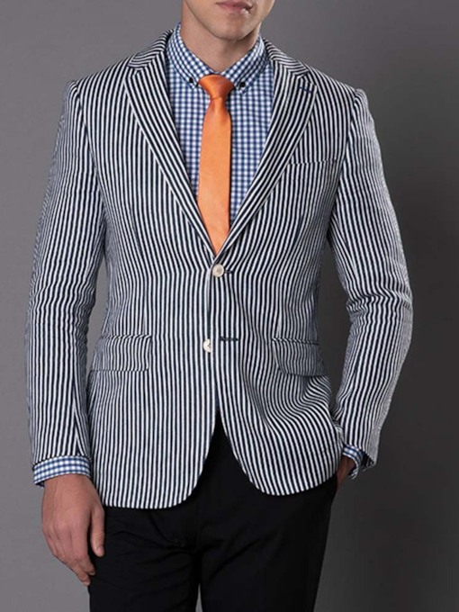 Wedding Bridegroom Blazer Stripe Slim Notched Lapel Single-Breasted Men's leisure Suit