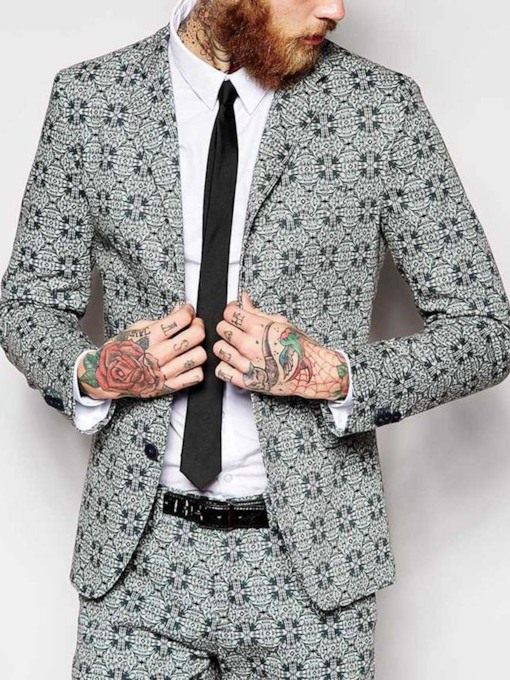 Wedding Bridegroom Blazer Print Casual Single-Breasted Geometric Men's leisure Suit