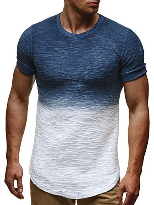 Casual Color Block Short Sleeve Polyester Men's T-shirt
