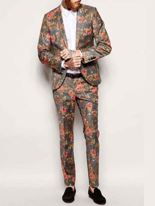 Party Suit Blazers Trousers Waistcoat Wedding Bridegroom Floral Casual Men's Dress Suit