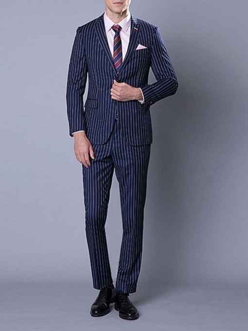 Wedding Bridegroom Blazer Pants Stripe Single-Breasted Casual Blazer Men's Dress Suit
