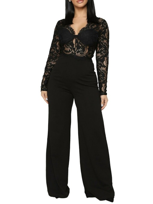 Full Length Sexy Patchwork Plain Slim Women's Jumpsuit