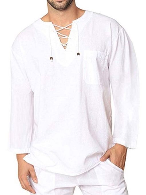 Plain Lace-Up Neck Casual Loose Men's Shirt