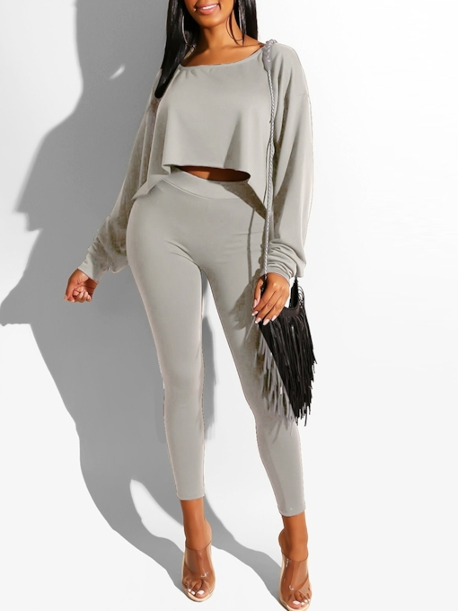 Mid-Calf Pants Casual Plain Pullover Women's Two Piece Sets
