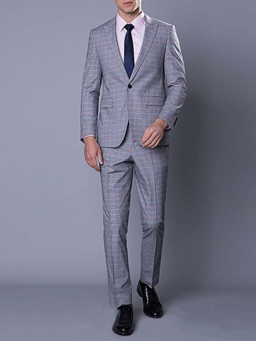 Wedding Bridegroom Blazer Pants Houndstooth One Button Casual Men's Dress Suit