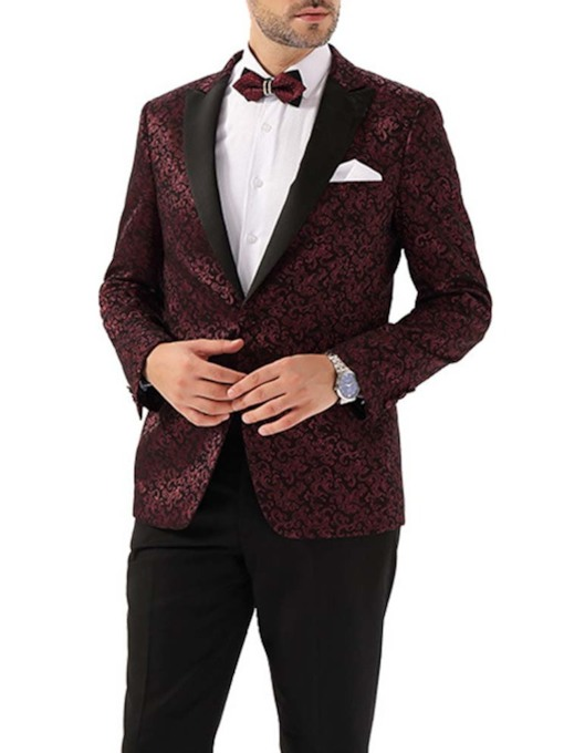 Wedding Dress Bridegroom Blazer Print Fashion Floral Men's leisure Suit
