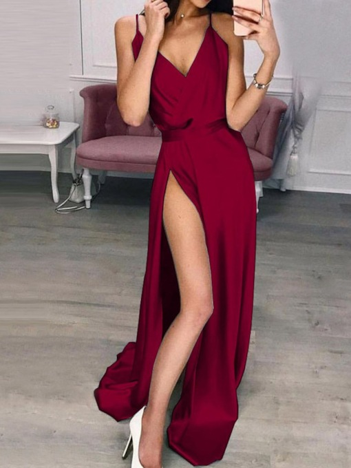 Split V-Neck Sleeveless Floor-Length Spaghetti Strap Women's Dress