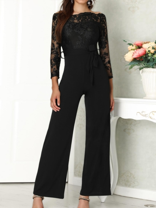 Full Length Western Patchwork Plain Loose Women's Jumpsuit