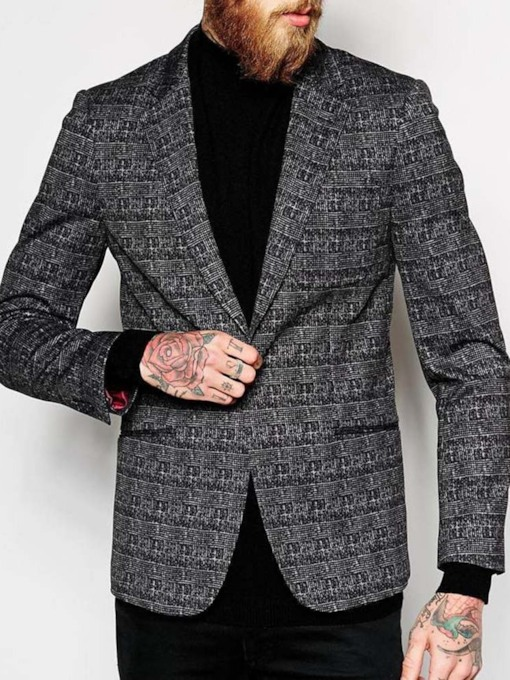 Wedding Bridegroom Blazer Notched Lapel Slim Plaid Print Men's leisure Suit