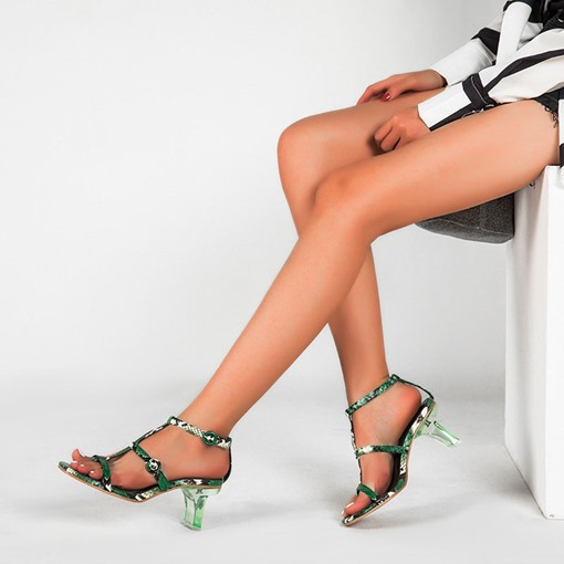 Square Toe T-Shaped Buckle Chunky Heel Serpentine Sandals