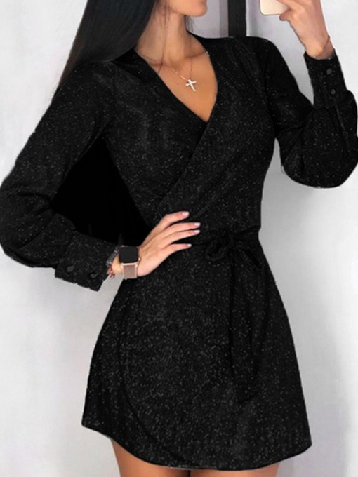 V-Neck Lurex Above Knee Long Sleeve Date Night/Going Out Women's Dress