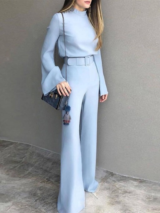 Full Length Plain Belt Western Slim Women's Jumpsuit