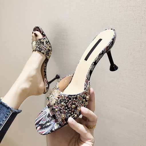 Stiletto Heel Rivet Slip-On Vintage Slippers