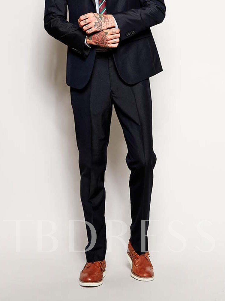 Wedding Bridegroom Full Length Plain Casual Straight Mid Waist Men's Suit Trousers