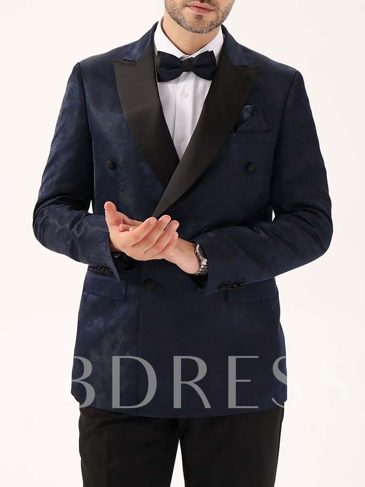 Wedding Bridegroom Blazer Notched Lapel Fashion Slim Double-Breasted Men's leisure Suit